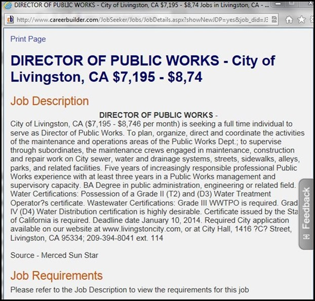 Public Works Director Position Advertisement