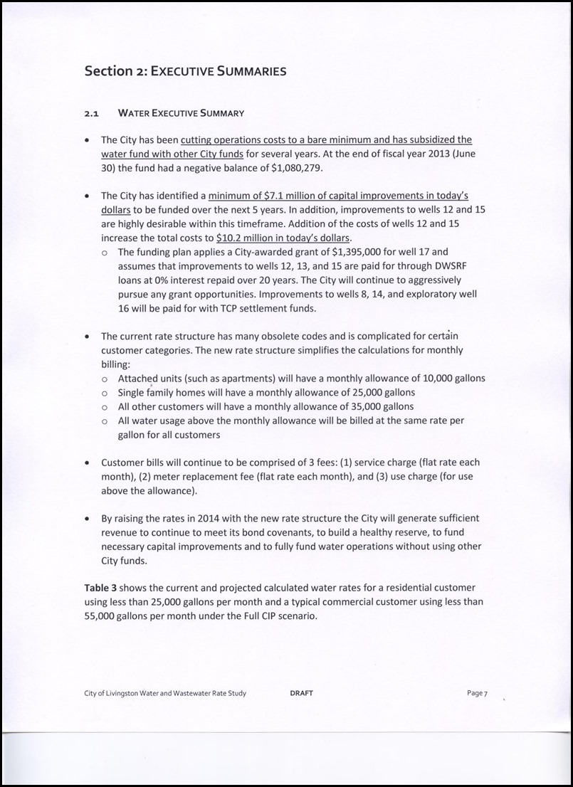 Page 4-7 Water Executive Summary