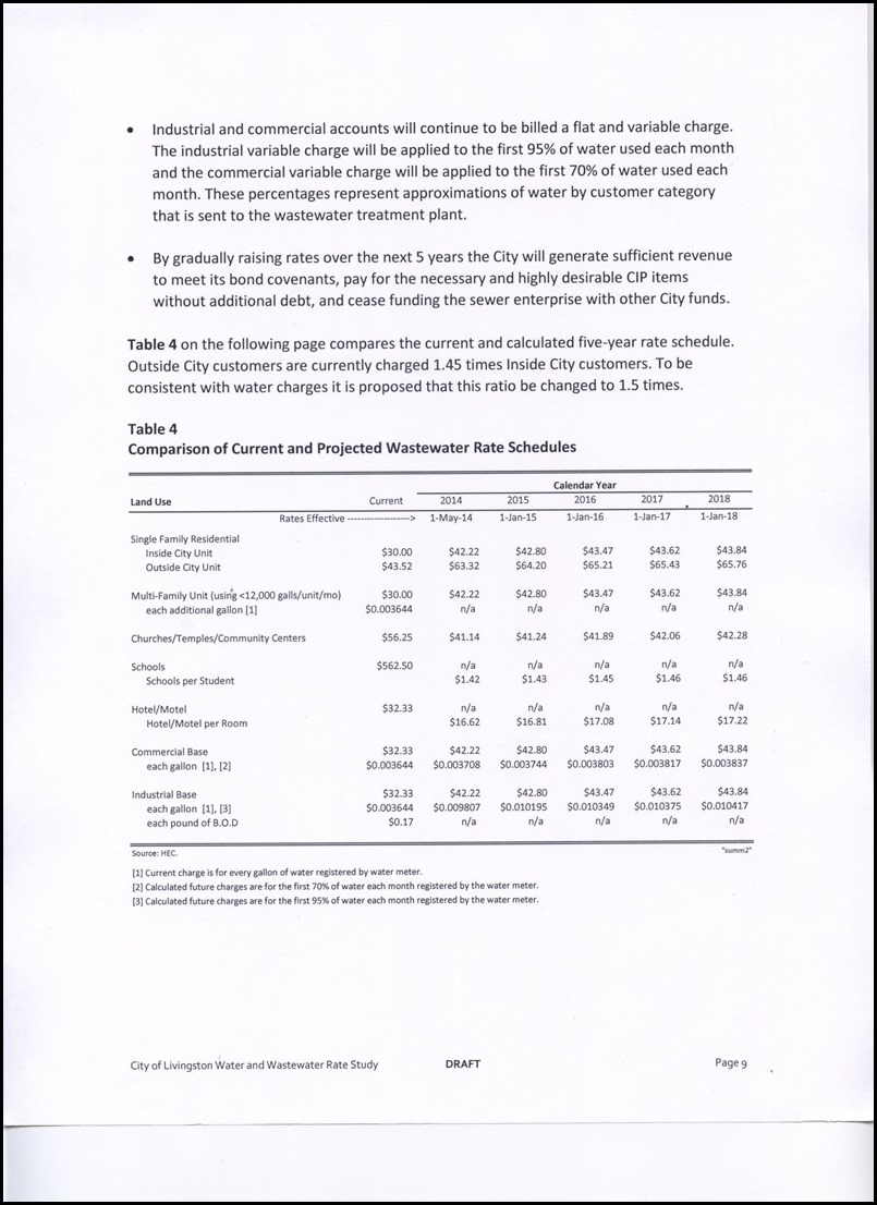 Page 4-9 Comparison of Current and Projected Wastewater Schedules