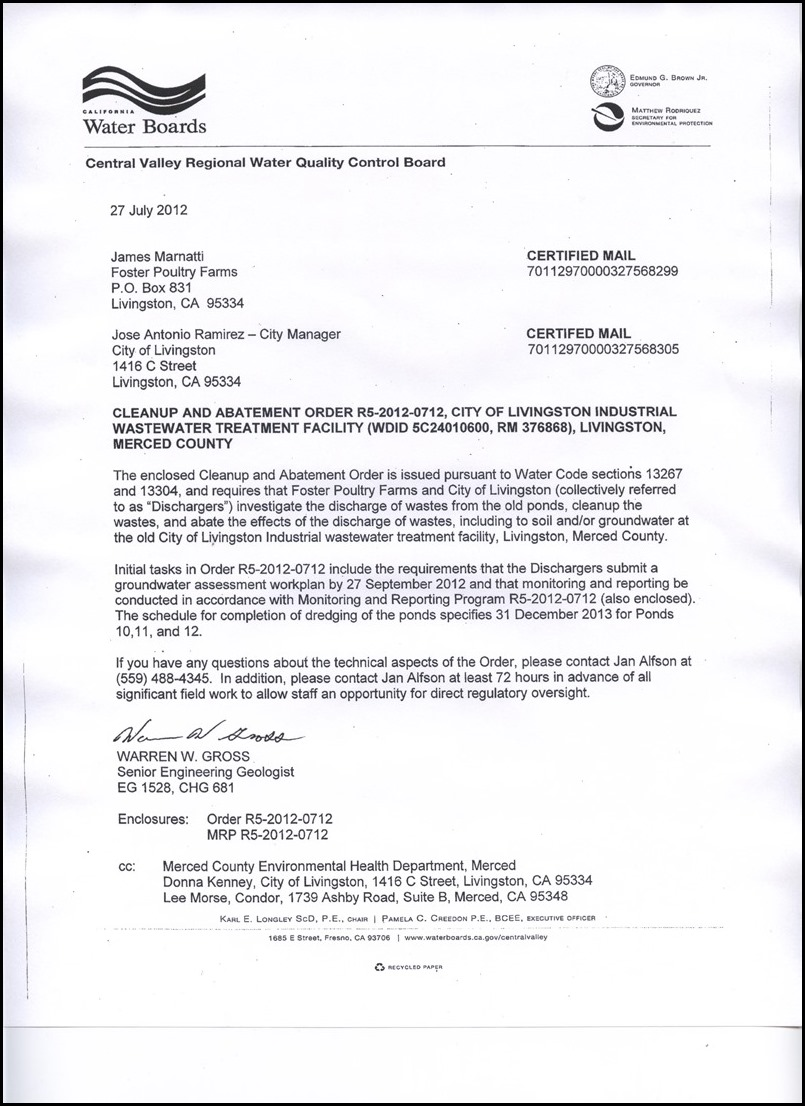 2012  u2013 california water board clean up and abatement order