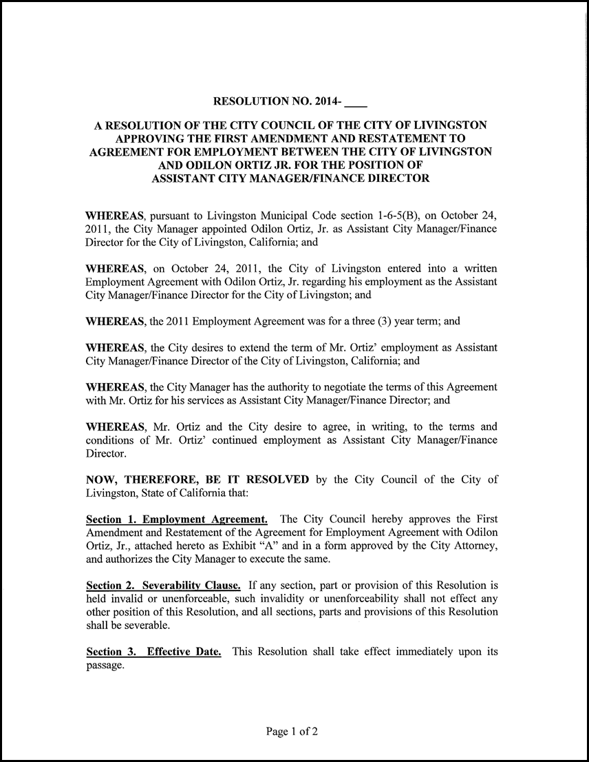 9 Resolution Approving The First Amendment And Restatement To