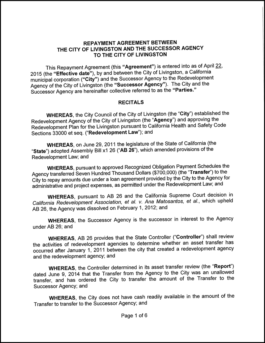 8 Adoption of Two Resolutions Approving a Four (4) Year Loan ...