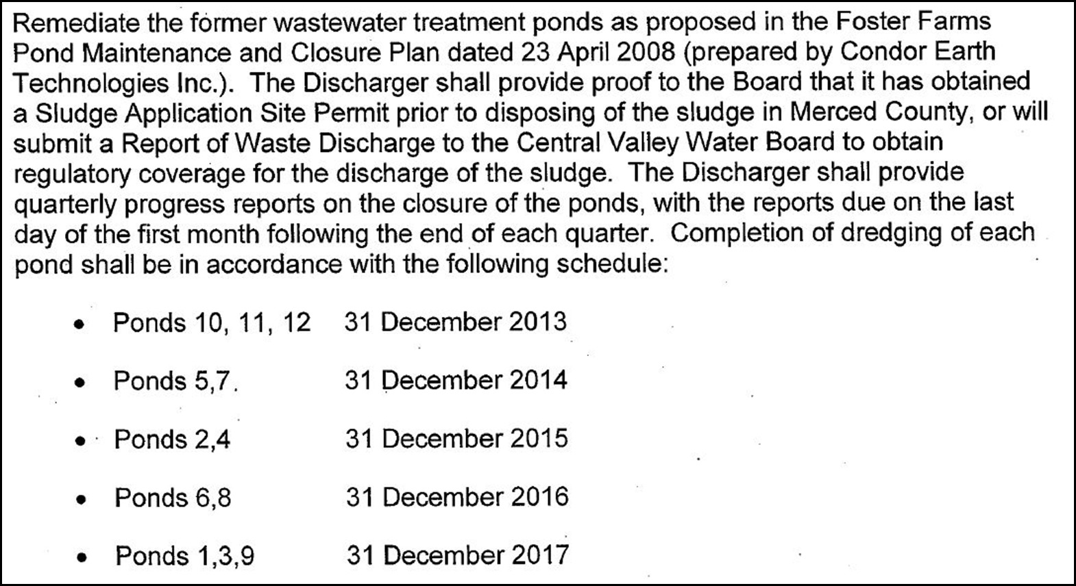 Pond Remediation Schedule