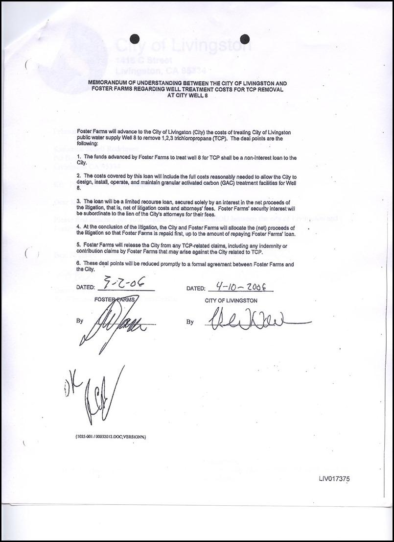 2006 Memorandum Of Understanding Foster Farms and Livingston